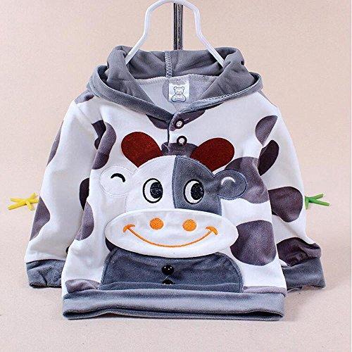 37ca69b8eb8a Baby Set Cartoon Cow Velvet Set Twinset Long Sleeve Set Hoodie  Pant Newborn  Babies 100%