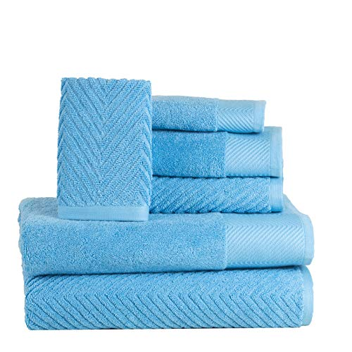 ISABELLA CROMWELL 6 Piece Cotton Bath Towels Set – 2 Bath Towels, 2 Hand Towels, 2 Washcloths Machine Washable Super Absorbent Hotel Spa Quality Luxury Towel Gift Sets Chevron Towel Set – Sea Blue