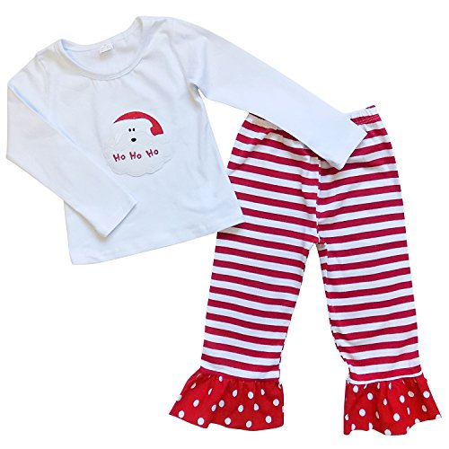 So Sydney Toddler Girls Christmas Santa Claus Ho Ho Ho Boutique Holiday Outfit (100 (3T)) (Ho Outfits)