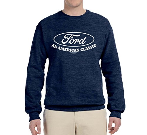 - Ford Motors | an American Classic | Mens Planes/Trains/Automobiles Crewneck Graphic Sweatshirt, Vintage Heather Navy, Large
