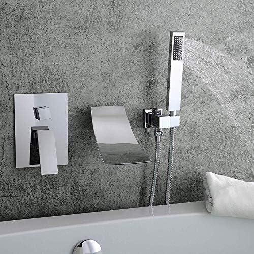 WXQ-XQ 実用的な現代の隠さのシャワー浴室洗面滝の蛇口2関数内で壁バスタブシャワーセットハンドシャワーシステムビューティフル (Color : Chrome)
