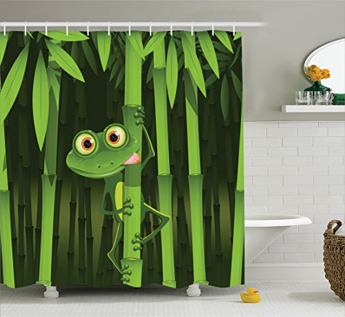 Animal Decor Shower Curtain Set by Ambesonne, Funny Illustration of Friendly Fun Frog on Stem of the Bamboo Jungle Trees Cute Nature Print, Bathroom Accessories, 84 Inches Extralong, Green (Stem Print Long)