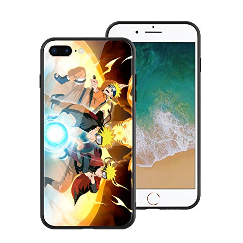 for iPhone7 Plus & iPhone8 Plus, Naruto 676 Design Tempered Glass Phone Case, Anti-Scratch Soft Silicone Bumper Ultra-Thin iPhone7 & 8 Plus Cover for Teens and Adults - Naruto Uzumaki (Naruto Sage Of Six Paths Mode Rasengan)
