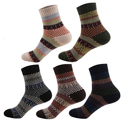 - ZHW Men's Cotton Dress Socks Argyle Stockings Socks (5 Pack Rainbow Socks)