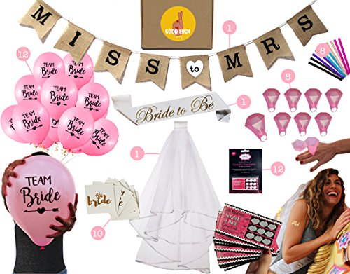 Bachelorette Party Decoration Supplies - Bride To Be Kit | Sash for bride, Veil + Comb, Banner, Bride Tribe Tattoos, Balloons, Diamond Shot Rings, Funny Straws, Dare Scratch Card Game