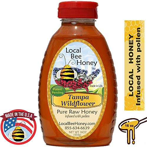 Local Bee Honey - Pure Raw Unfiltered Unheated Local Tampa Wildflower Honey, 16oz (infused with pollen) (Best Local Honey For Allergies)