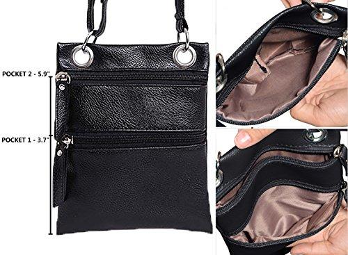 Pocket for with Small Black Multi Zip Crossbody Beurlike Women Bags Crossbody Purse qUR8KOx