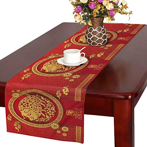 InterestPrint Happy Chinese New Year 2019 Year of The Pig Paper Cut Style Table Runner Cotton Linen Cloth Placemat for Office Kitchen Dining Wedding Party Banquet 16 x 72 Inches -