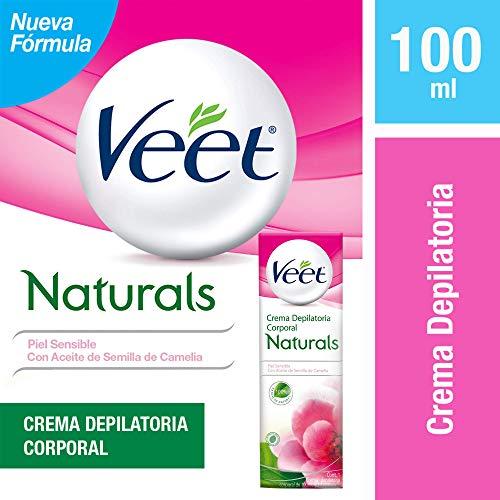 Crema Depilatoria Corporal con Aceite de Semilla de Camelia, Veet Para Piel Sensible Tubo de 100 ml