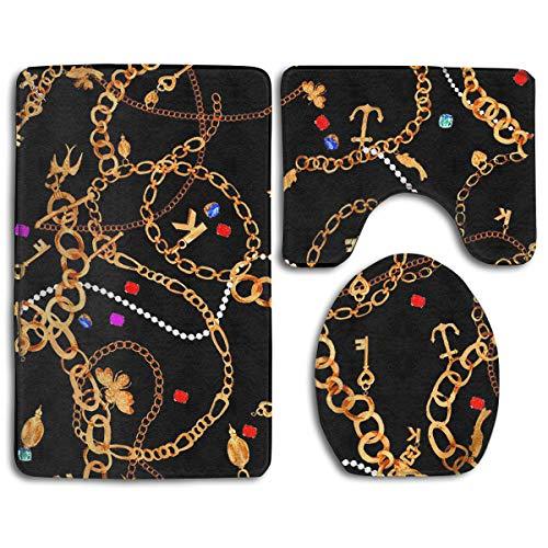 Amazon Com Yilisa Bathroom Rug Mats Set 3pcs Gold Chain