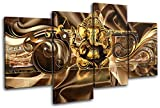 Bold Bloc Design - Modern Ganesh Abstract 120x68cm MULTI Canvas Art Print Box Framed Picture Wall Hanging - Hand Made In The UK - Framed And Ready To Hang