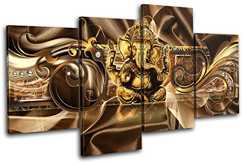 Bold Bloc Design - Modern Ganesh Abstract 120x68cm MULTI Canvas Art Print Box Framed Picture Wall Hanging - Hand Made In The UK - Framed And Ready To Hang by Bold Bloc Design