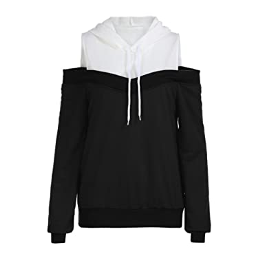 cd04e766240 Autumn Womens Patchwork Off Shoulder Long Sleeve Hoodie Sweatshirt  Drawstring Hooded Pullover Tops Blouse (Black