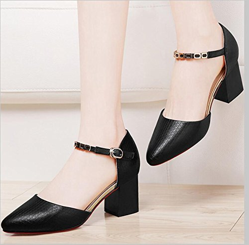 KHSKX-Black Single Women New Spring Shoes With Bold Tip Light-Wild Working With Women'S Shoes 40 4CWkMEG