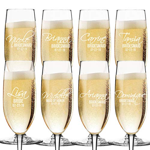 Set of 3, 6, 8, and More Custom Etched Bride, Bridesmaid, Champagne Flutes - Personalized Wedding Party Glass Gifts - Feather Tip Style (8) -