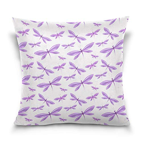 Jacksonnd Blithed Purple Diamond Painting Dragonfly Cotton Velvet Printed Pillowcase Decorative Sofa Hug Pillowcase Square Pillowcase