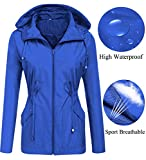 Waterproof Jacket Women with Hood Breathable Light Packable Liner Stylish Belt