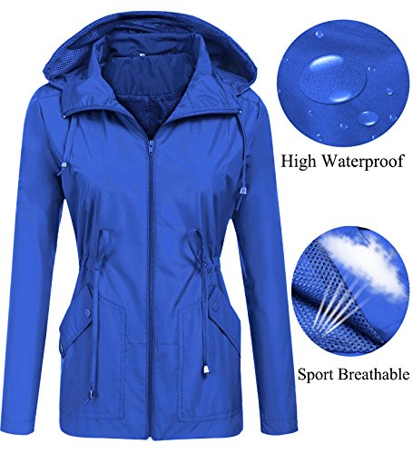 Womens Breathable Waterproof Jacket (LOMON Waterproof Jacket Reflective Hooded Lightweight Packable Hiking Shell Outdoor)