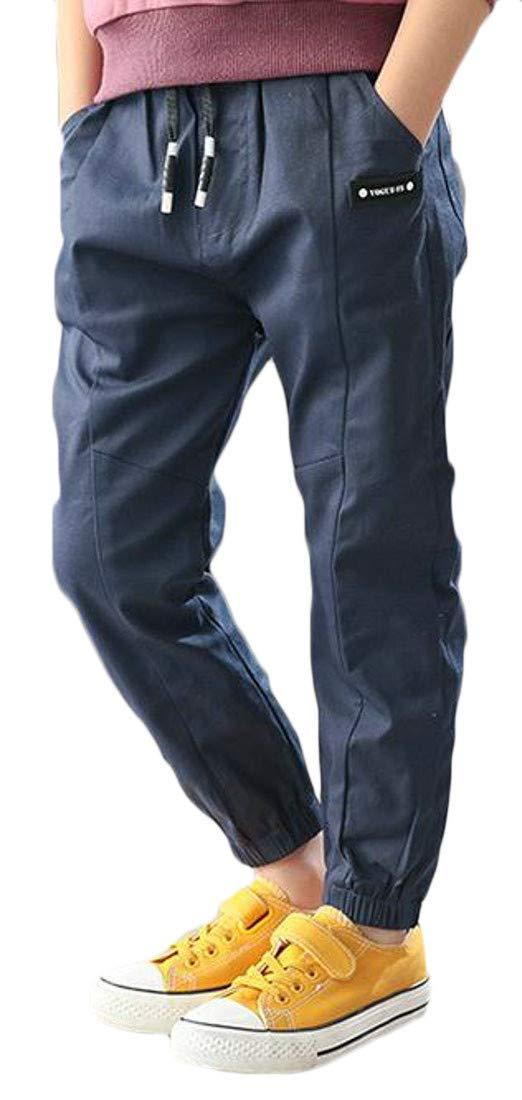Joe Wenko Boy Casual Breathable Sport Waist Drawstring Long Jogger Pants Navy Blue 6T