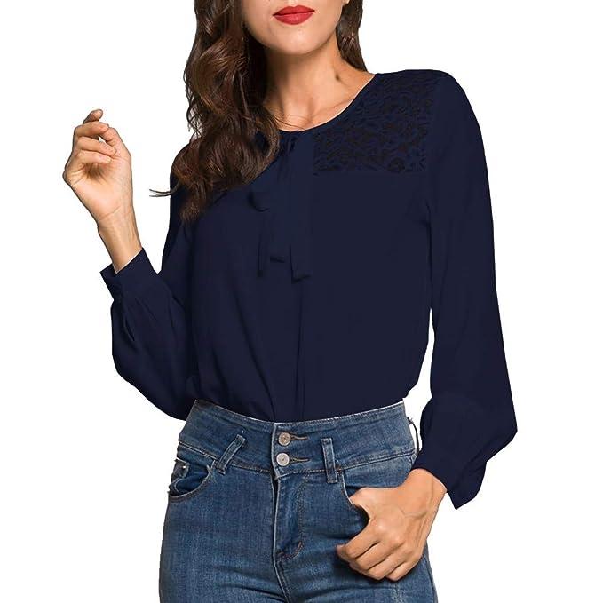 HWTOP Damen Mode Oberteil Langarm Hemd Chiffon Bluse Arbeitshemd ...