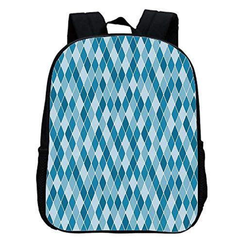 Harlequin Antique - Light Blue Fashion Kindergarten Shoulder Bag,Harlequin Winter Theme Pattern Elongated Squares Aquatic Colors Antique Italian Decorative For Hiking,One_Size