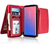 Sammid S8 Plus Wallet Case Cover, Multi-Function 6.2 inch Corner Protection PU Leather Phone Case Card Slot Zipper Wallet Cover Galaxy S8 Plus- Red