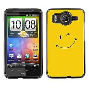 Caucho caso de Shell duro de la cubierta de accesorios de protección BY RAYDREAMMM - HTC G10 - Amarillo Smiley Face
