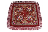 Dzhavael Couture Womans Russian Style Wool Luxury Unique Large Babushka Pashmina Shawl Wraps Scarves with Fringe (Dark Red)