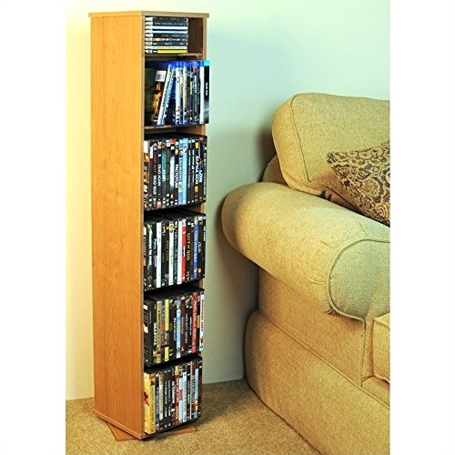 Venture Horizon Revolving Media Library w Adjustable Shelves in Oak Finish