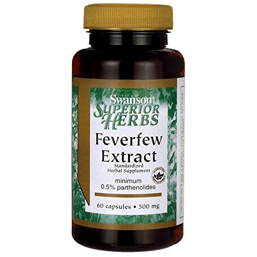Swanson Feverfew Extract 500 Milligrams 60 Capsules