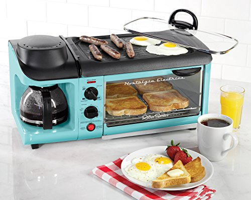 Nostalgia-BSET300BLUE-Retro-Series-3-in-1-Family-Size-Breakfast-Station