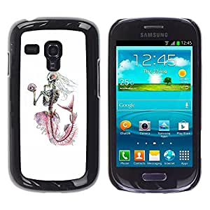 Estuche Cubierta Shell Smartphone estuche protector duro para el teléfono móvil Caso Samsung Galaxy S3 MINI NOT REGULAR! I8190 I8190N / CECELL Phone case / / White Skeleton Mermaid Cap