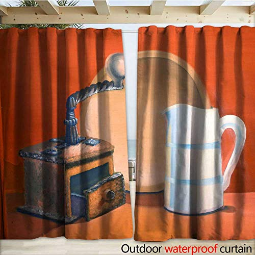 warmfamily Outdoor Waterproof Curtain Photograph of Oil Painting Titled Old Coffee Grinder Drapery W120 x L96