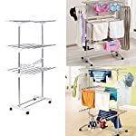beewert 3 Tier Stainless Organizer Folding Drying Rack Clothes Drier Hanger Stand Airer