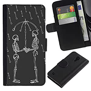 Stuss Case / Funda Carcasa PU de Cuero - Cráneo divertido Love Rain Umbrella Skeleton - Samsung Galaxy S4 IV I9500