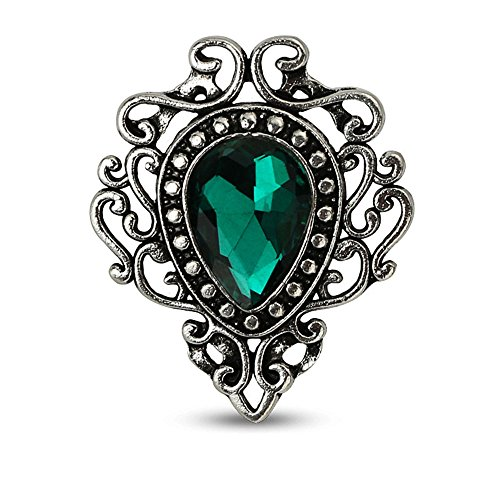 MINGHUA Retro Hollow Flower Waterdrop Gemstone Brooch for Women (Green) ()