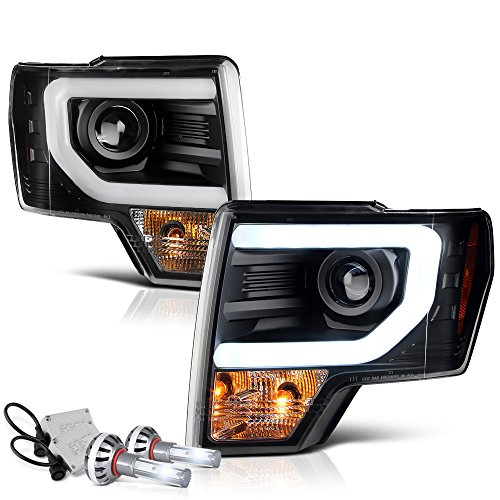 VIPMOTOZ OLED Neon Tube Black Projector Headlight Headlamp Assembly For 2009-2014 Ford F-150 Pickup Truck, Built-In CSP LED Low Beam, Driver & Passenger Side