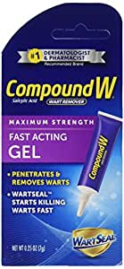 Compound W Fast Acting Wart Removal Gel - Maximum Strength - Penetrates and Removes Common and Plantar Warts with Salicylic Acid - 0.25 Ounce (Pack of 2)