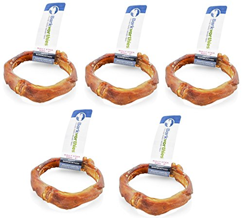 Image of Barkworthies Premium Dog Treats, 3-Inch Ring Bully Sticks (5 Pack)