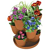 EMSCO Bloomers Stackable Flower Tower Planter – Holds up to 9 Plants – Great both Indoors and Outdoors – Terra Cotta