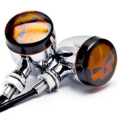 Harley Davidson Bulbs (2x Chrome Skull Motorcycle Parts Custom Amber Bulbs Blinkers Indicators Lights Turn Signals Accessories Fit for Harley Davidson XL 883 Hugger Sportster)