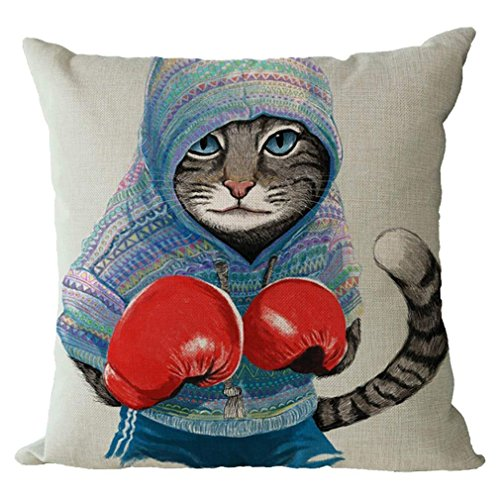(GOOESING Gray Cat Boxer Fashion Stripe Decorative Pattern Hoodie Red Boxing Glove Nice-Looking Flax Pillow Case/Pillow Cover 50% Cotton & 50% Polyester Size 22x22 Inches)