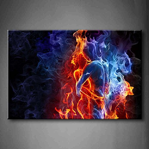 - Red Fire Hot Couple Kiss Each Other Blue Yellow Man And Woman Wall Art Painting The Picture Print On Canvas People Pictures For Home Decor Decoration Gift (Stretched By Wooden Frame,Ready To Hang)