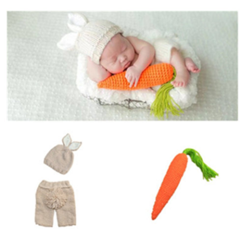 Coberllus Newborn Baby Photography Prop Boy Girl Photo Shoot Outfits Crochet Knit Cute Christmas Bunny Hat Photo Props Easter Costume (Style Two+Radish), 0-3 months