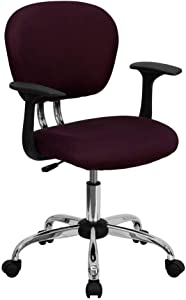 Flash Furniture Mid-Back Burgundy Mesh Padded Swivel Task Office Chair with Chrome Base and Arms