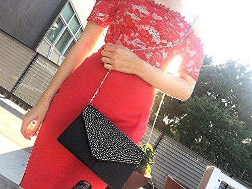 Shoulder ClasiChic Handbag Women Black Clutch Bag Evening Classic Rhinestone Clutch Purse Pleated Bag Envelope Frosted IqRzfq