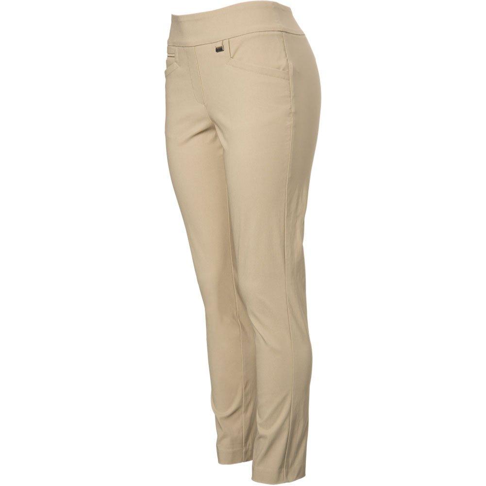 EP Pro Golf Women's Bi-Stretch Pull-on Slim Ankle Pants, Medium, Khaki by EP Pro Golf