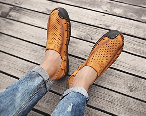 Toe Men's Shoes Slippers Brown Flat Sandals Closed BININBOX Breathable TX461wqwH