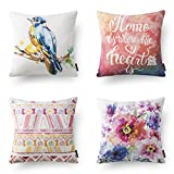 "PHANTOSCOPE Set of 4 Decorative New Peach Color Beautiful Home Series Throw Pillow Cover 18"" x 18"" 45cm x 45cm"