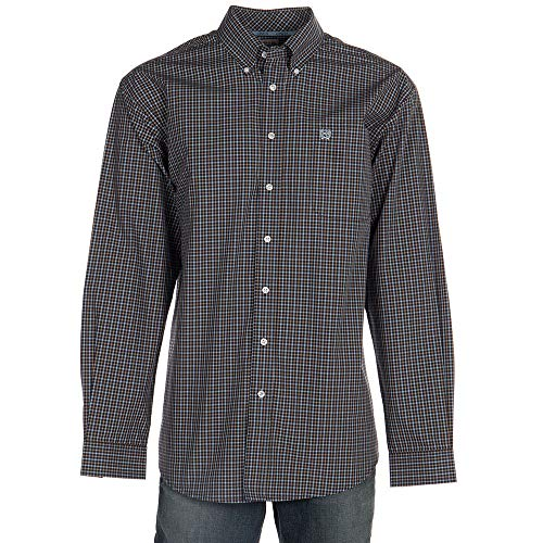 Cinch Men's Classic Fit Long Sleeve Button One Open Pocket Plaid Shirt, Midnight Blue, L from Cinch